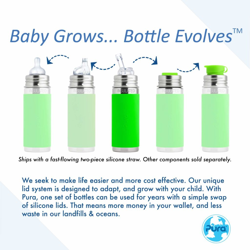 Pura Kiki stainless steel sippy cups which grow from feeding cups to sports bottle