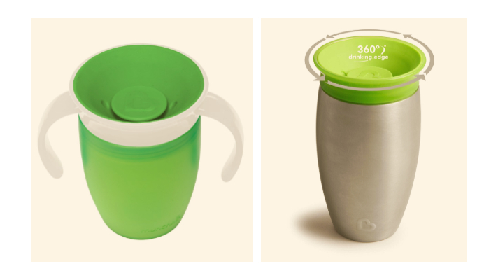Munchkin 360 degrees spoutless cup in plastic or steel, with or without training handles