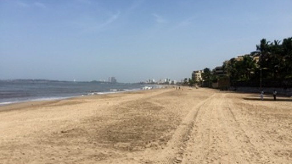 The sea shore and the sand for hours for play at Juhu beach Mumbai