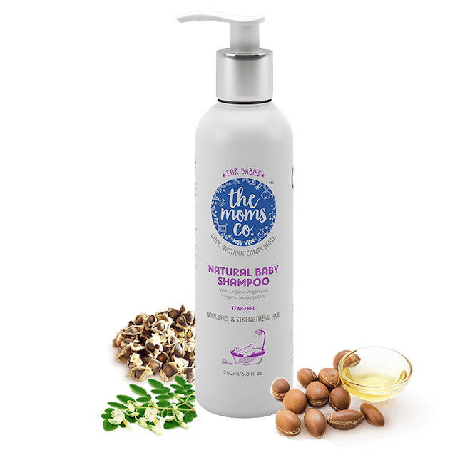 The Moms Co natural shampoo are made up of organic argon oil and use to baby hair