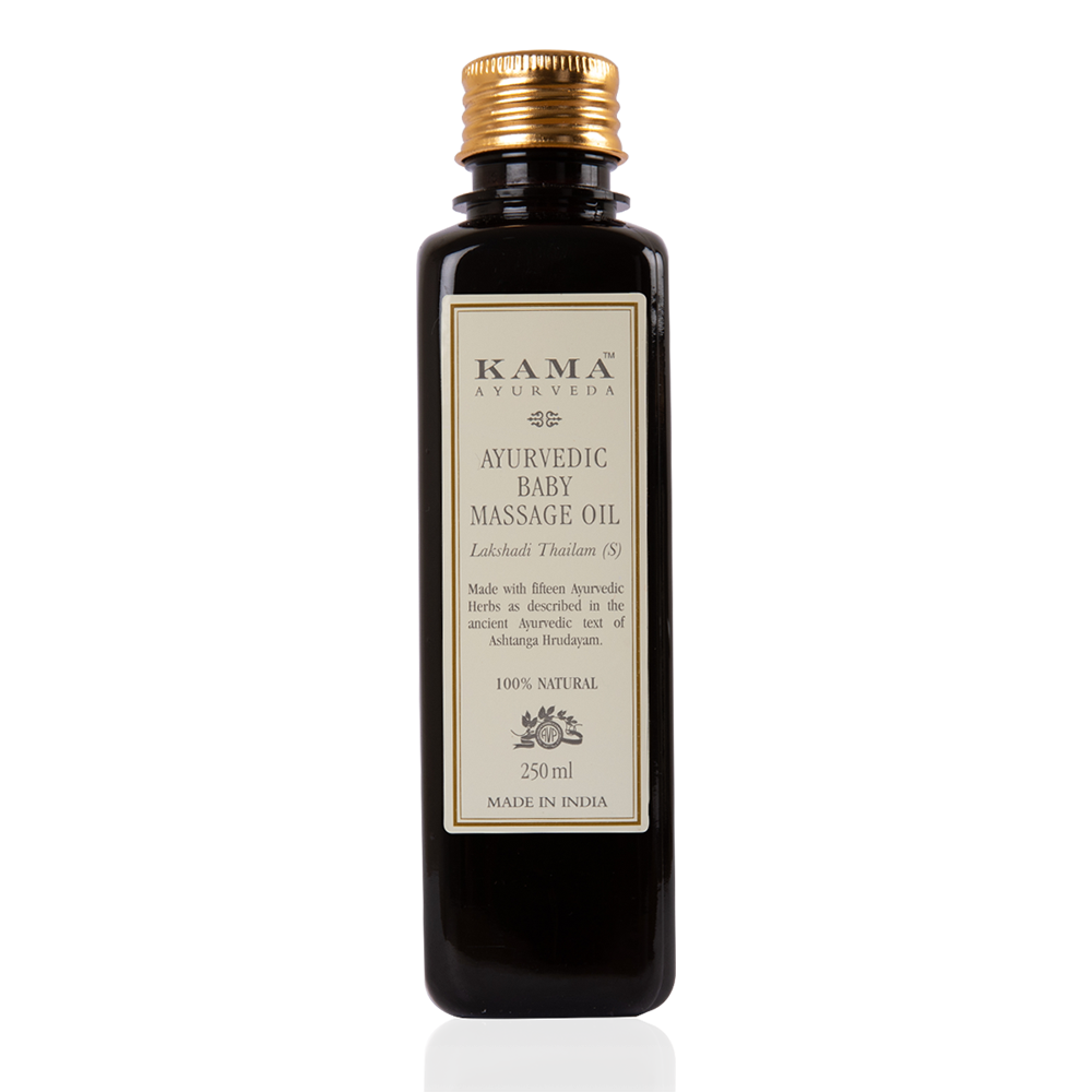 Kama ayurvedic massage oil is mixture of 15 different herbs that protect your baby's skin